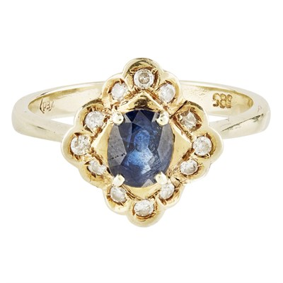 Lot 21-A sapphire and diamond set cluster ring