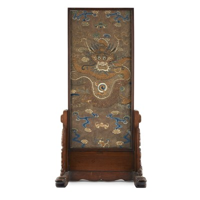 Lot 22-TABLE SCREEN WITH INSET EMBROIDERED 'DRAGON' PANEL