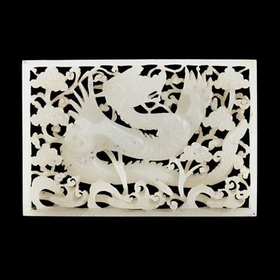 Lot 100 - WHITE JADE PIERCED 'DRAGON' PLAQUE
