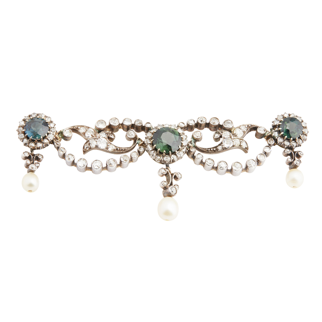 Lot 45-A late 19th century sapphire and diamond set swag brooch