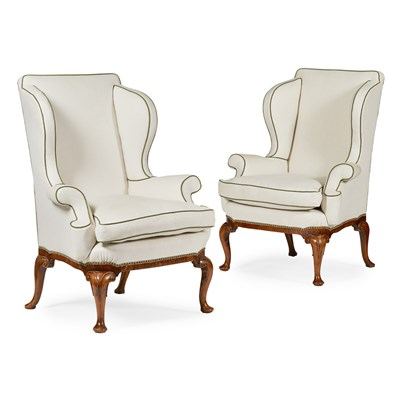 Lot 22-PAIR OF GEORGE II STYLE WALNUT WING ARMCHAIRS