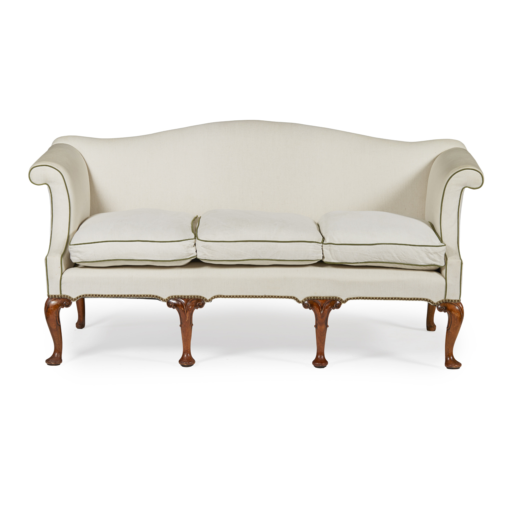 Lot 23-GEORGE II STYLE WALNUT SOFA