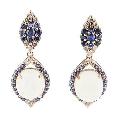 Lot 86 - A pair of opal pendant earrings