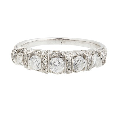 Lot 21-A diamond set half eternity ring