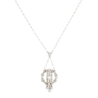 Lot 1-A Belle Époque pearl and diamond set pendant necklace
