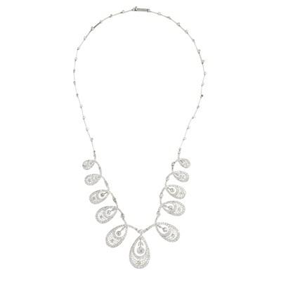 Lot 16-A Belle Époque diamond set fringe necklace
