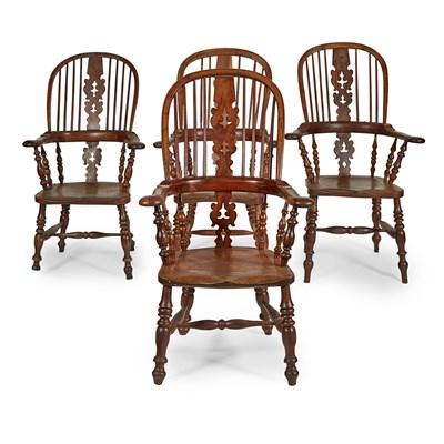 Lot 33-MATCHED SET OF FOUR YEW AND ELM WINDSOR ARMCHAIRS