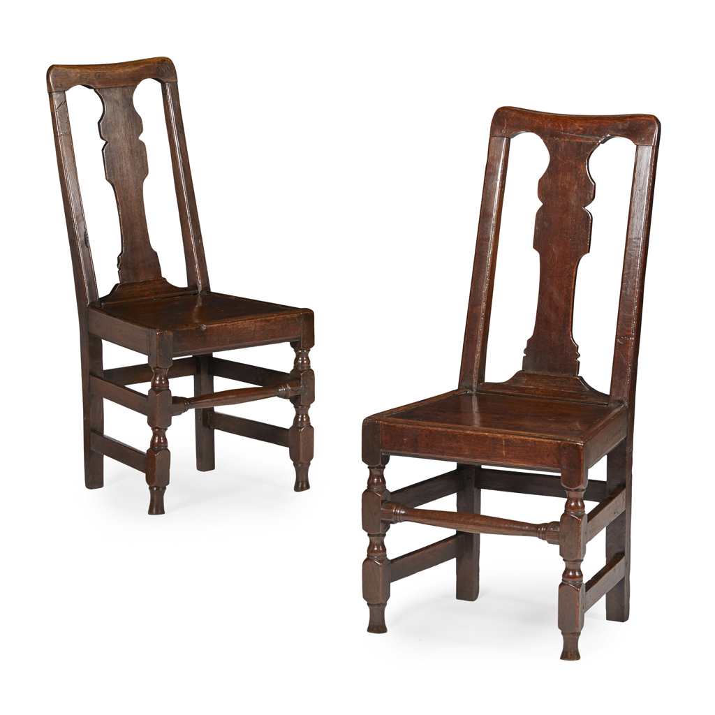 Lot 7-PAIR OF WILLIAM AND MARY OAK SIDE CHAIRS