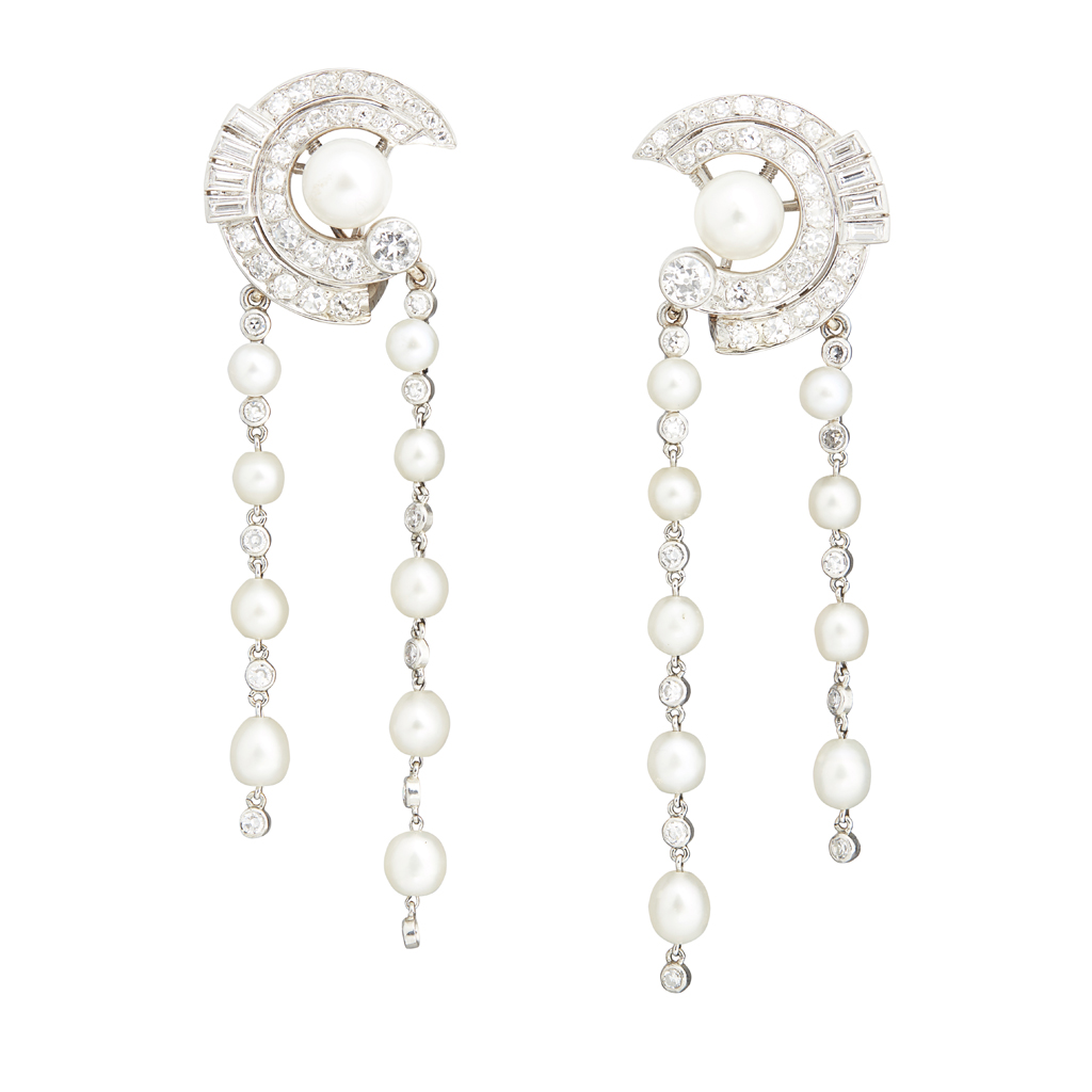 Lot 13-A pair of late 1940s diamond and pearl 'night-and-day' ear-clips