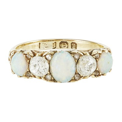 Lot 82-A five stone opal and diamond set ring