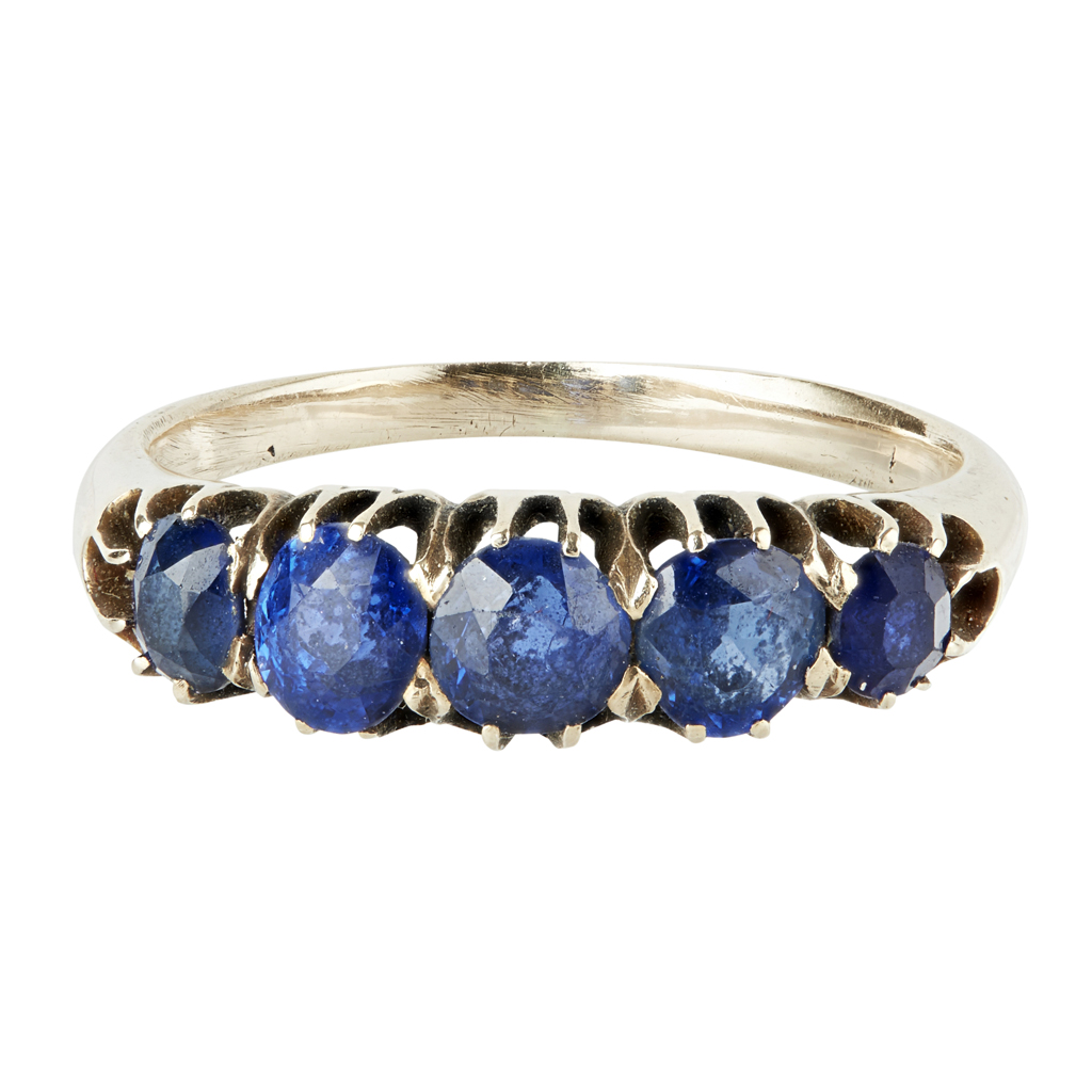 Lot 11-A five stone sapphire set ring
