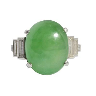 Lot 65-An Art Deco jadeite and diamond set ring