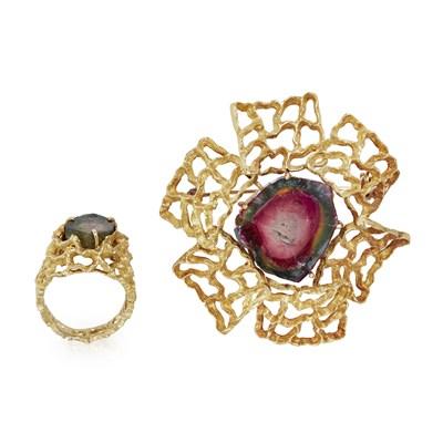 Lot 81-A tourmaline set brooch and matching ring, H. Stern