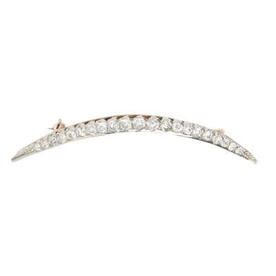 Lot 3-A diamond set crescent brooch