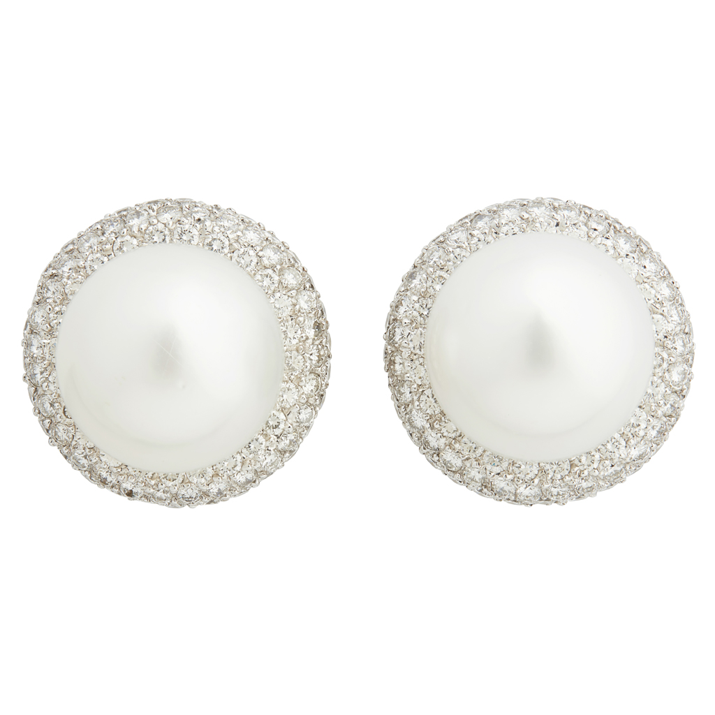 Lot 15-A pair of South Sea pearl and diamond set earrings