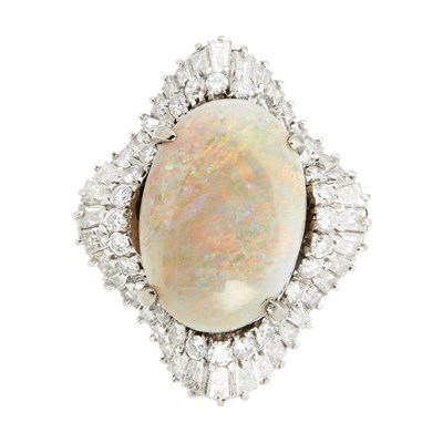 Lot 93-A mid-20th century opal and diamond set cluster ring