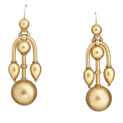 Lot 46-A pair of Victorian Etruscan Revival pendant earrings