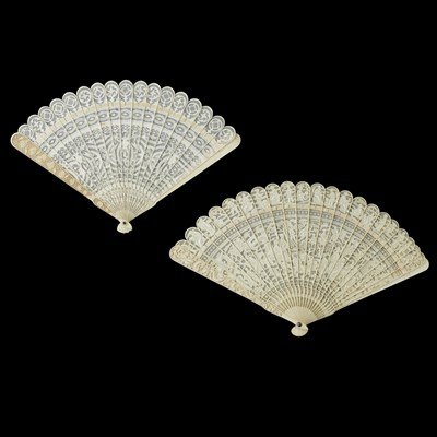 Lot 33-TWO IVORY BRISÉ FANS