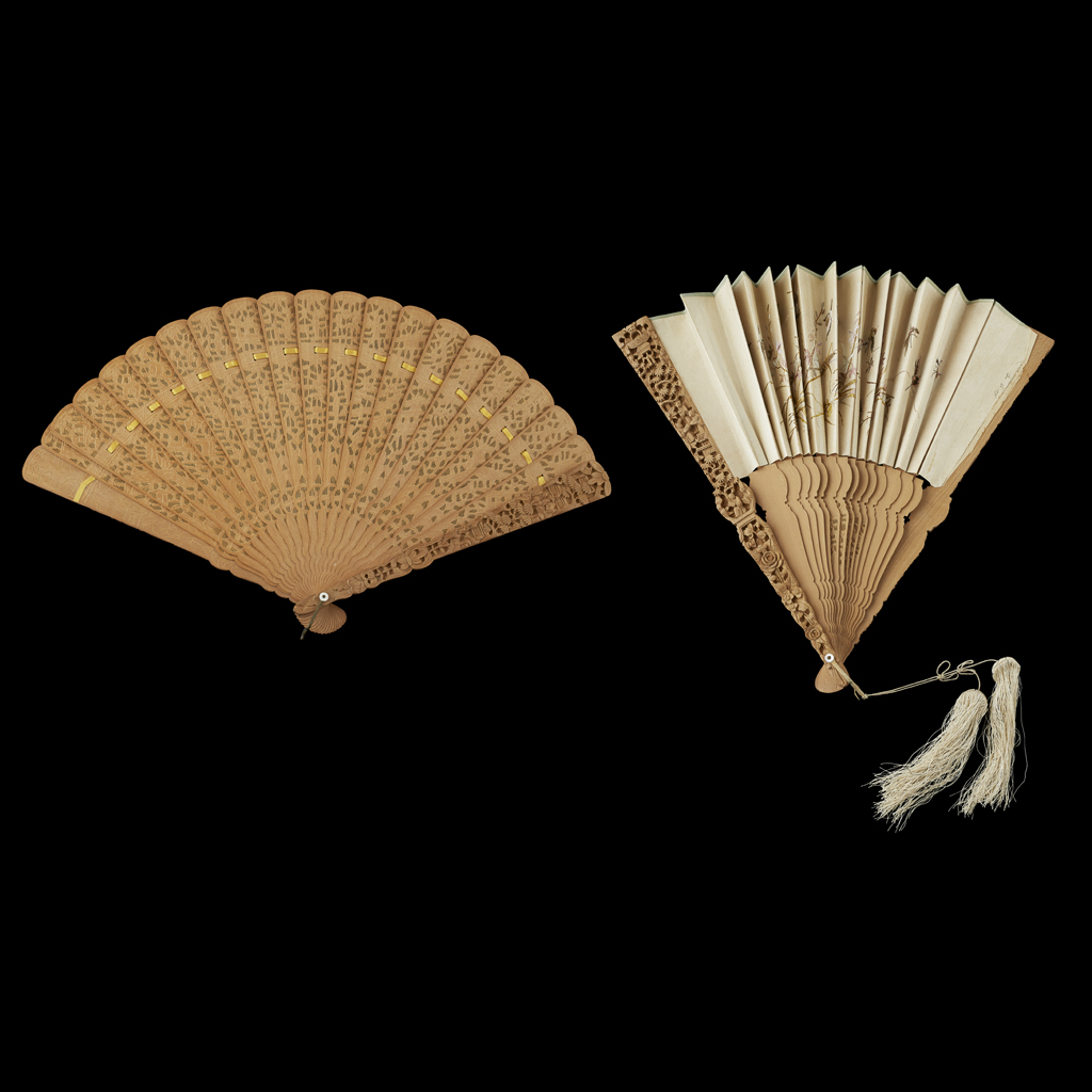 Lot 35-TWO SANDALWOOD FANS