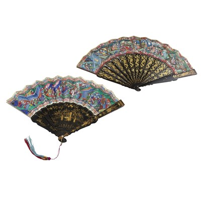 Lot 39-TWO PAINTED AND LACQUERED 'THOUSAND FACES' FANS