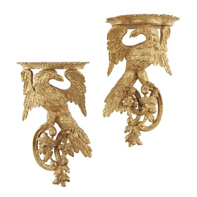 Lot 60-PAIR OF GEORGIAN STYLE CARVED GILTWOOD WALL BRACKETS