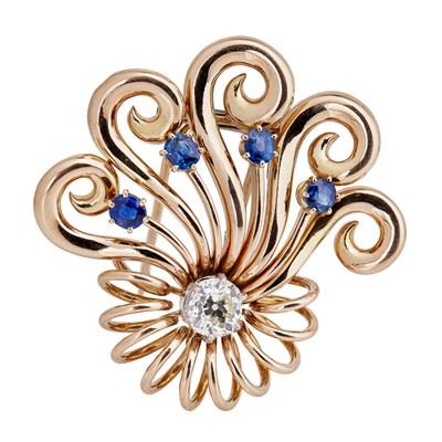 Lot 23-A 1940s French sapphire and diamond set brooch, Boucheron