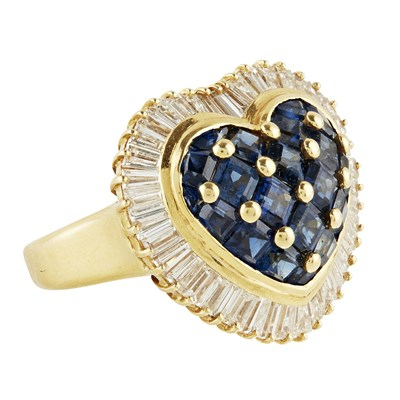 Lot 62-A sapphire and diamond set cluster ring
