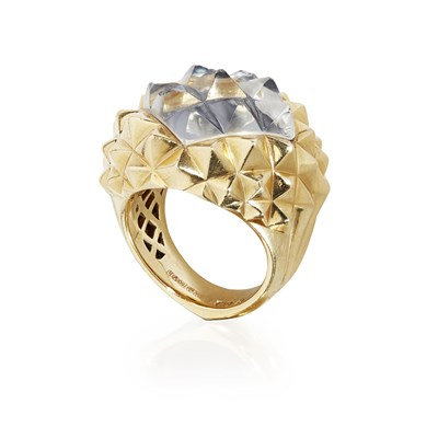 Lot 70-An 18ct gold and rock crystal 'Superstud' ring, Stephen Webster