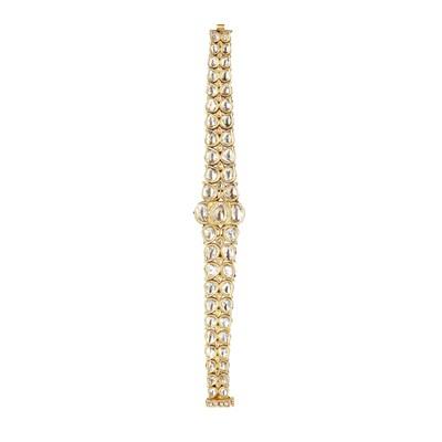 Lot 53-An Indian diamond set and enamelled bracelet