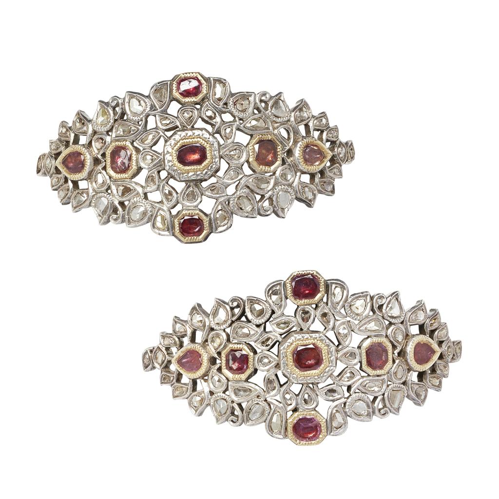 Lot 52-A pair of Indian diamond and gem-set arm-bands <em>(bazubands)</em>