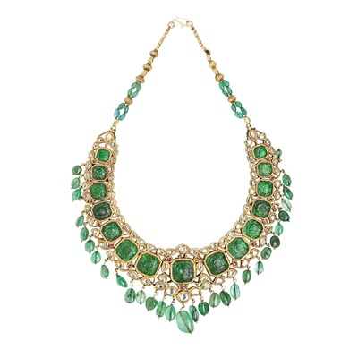 Lot 54-An Indian diamond, emerald and ruby set and diamond set necklace
