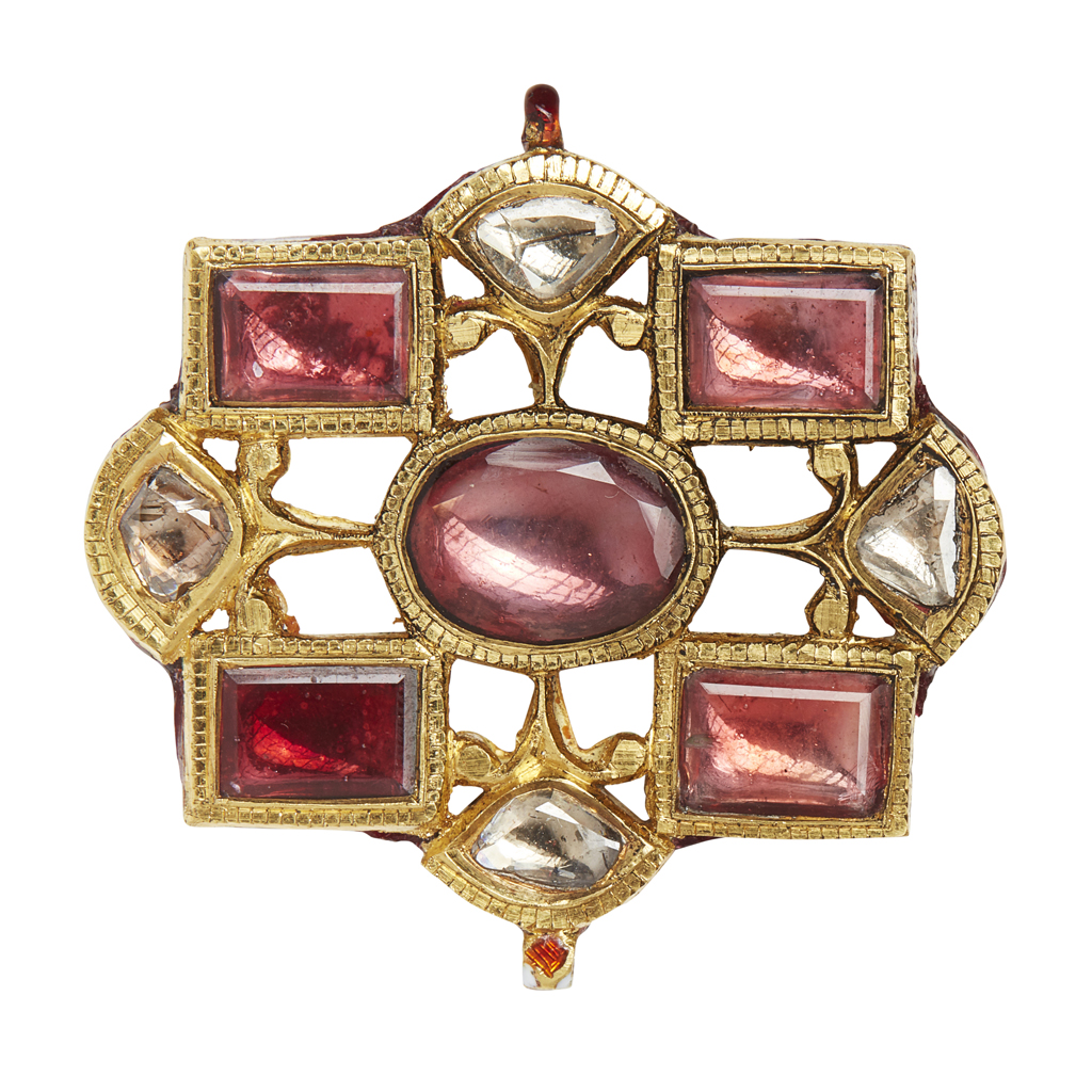 Lot 22-An Indian tourmaline and diamond set and enamelled pendant