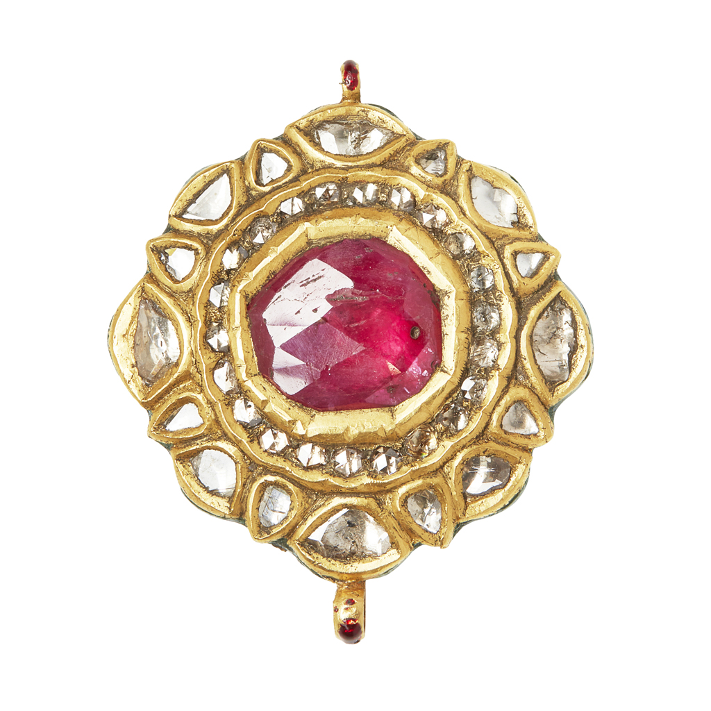 Lot 49-An Indian ruby and diamond set and enamelled pendant