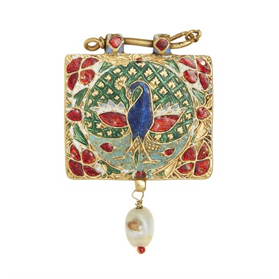 Lot 58-An Indian freshwater pearl and enamelled pendant