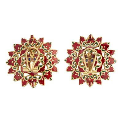 Lot 55-A pair of Indian diamond set and enamelled earrings