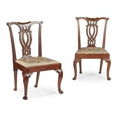 Lot 14-PAIR OF GEORGE II MAHOGANY SIDE CHAIRS