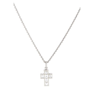 Lot 23-A diamond set cross pendant, Cartier