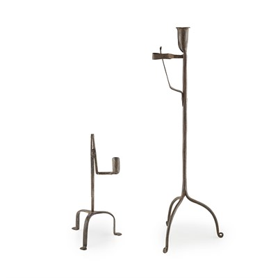 Lot 4-TWO IRON RUSHLIGHT HOLDERS