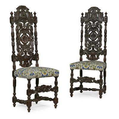 Lot 9-PAIR OF WILLIAM AND MARY OAK SIDE CHAIRS