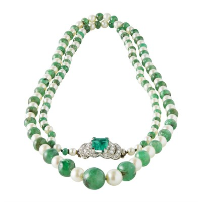 Lot 66-An emerald, pearl and diamond set necklace