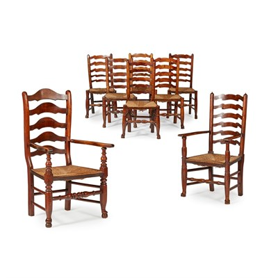 Lot 28-ASSEMBLED SET OF EIGHT LADDERBACK CHAIRS