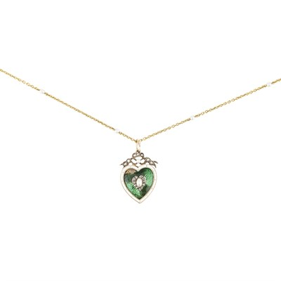 Lot 10-An enamel, pearl and diamond set pendant
