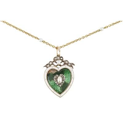 Lot 10-An enamel, pearl and diamond set pendant