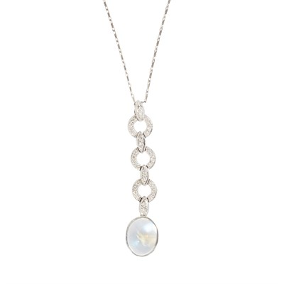 Lot 50-A moonstone and diamond set pendant necklace