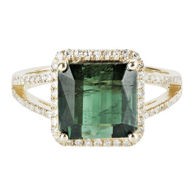 Lot 25-A green tourmaline and diamond set ring