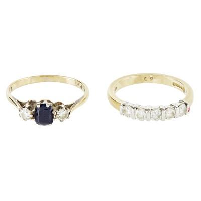 Lot 37-A diamond set half eternity ring