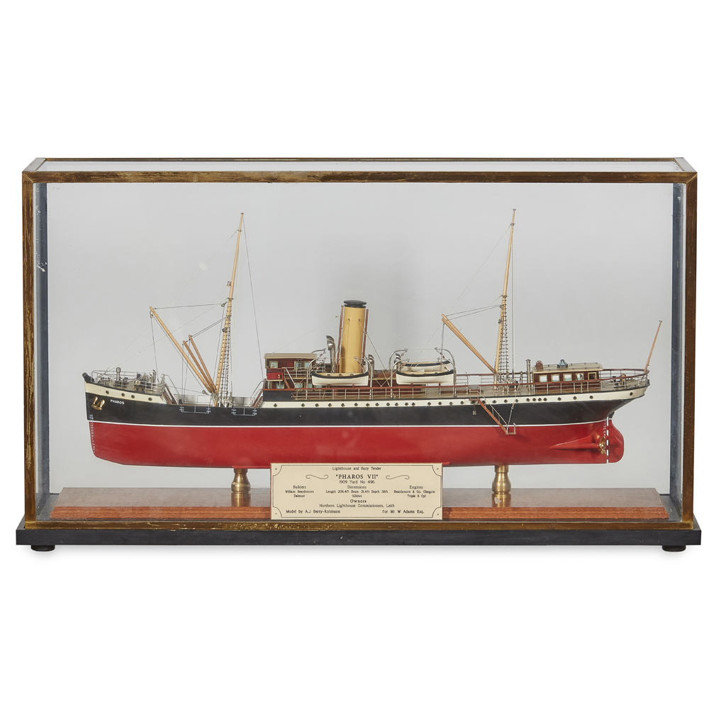 Lot 199 - A CASED MODEL OF A LIGHTHOUSE AND BUOY TENDER