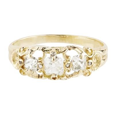 Lot 11-A Victorian three stone diamond set ring