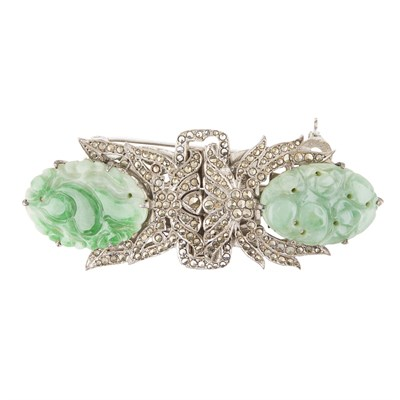 Lot 15-An Art Deco marcasite and jade set double clip brooch