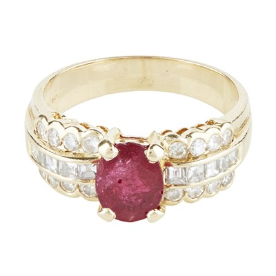 Lot 61-A ruby and diamond set ring
